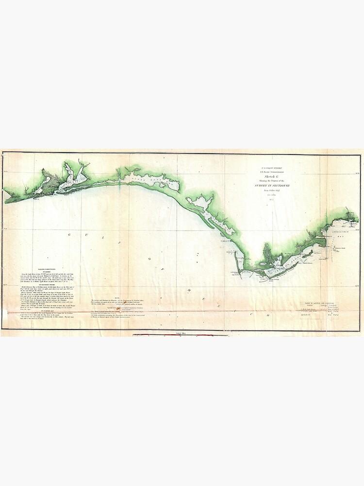 Map Of The Panhandle Florida.Vintage Coast Of Florida Panhandle Map Metal Print