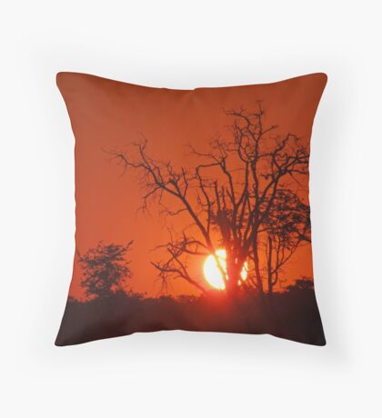 Sunset. Moremi Game Reserve, Botswana, Africa Throw Pillow