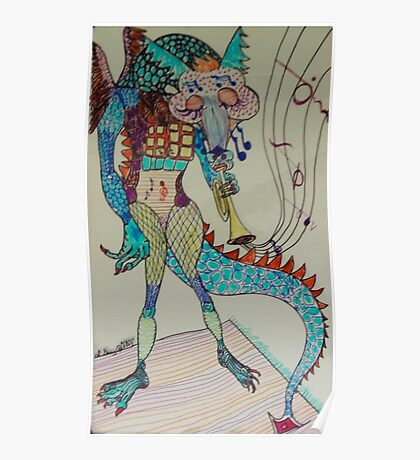 Jazzy Dragon Poster