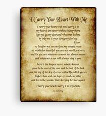 Ich trage dein Herz-Gedicht - Antikes Pergament Leinwanddruck