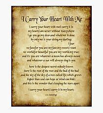 I Carry Your Heart Poem - Antique Parchment Style Photographic Print