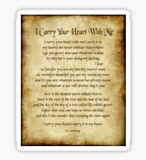I Carry Your Heart Poem - Antique Parchment Style Sticker