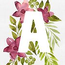Letter A in watercolor flowers and leaves. Floral monogram. by helga-wigandt