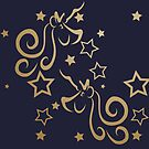 Unicorn and Stars Repeating Pattern in Navy and Metallic Gold by Ladyfyre