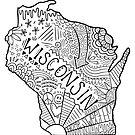 Wisconsin State Doodle von Corey Paige Designs