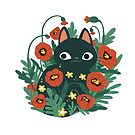 Cat with Poppy Flowers  by michelledraws