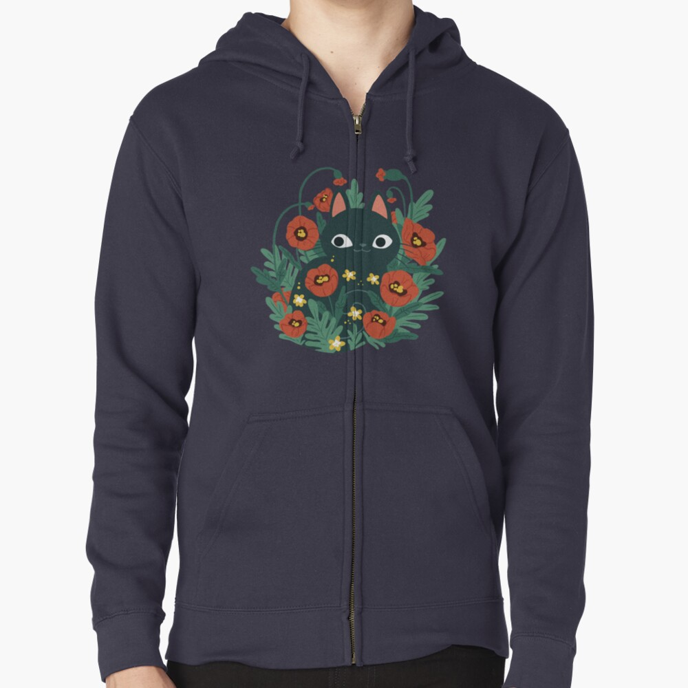 Cat with Poppy Flowers  Zipped Hoodie