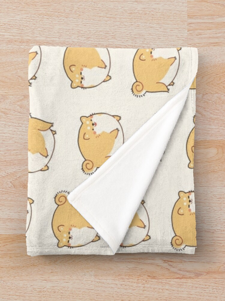 Alternate view of Round Shibes ! Throw Blanket