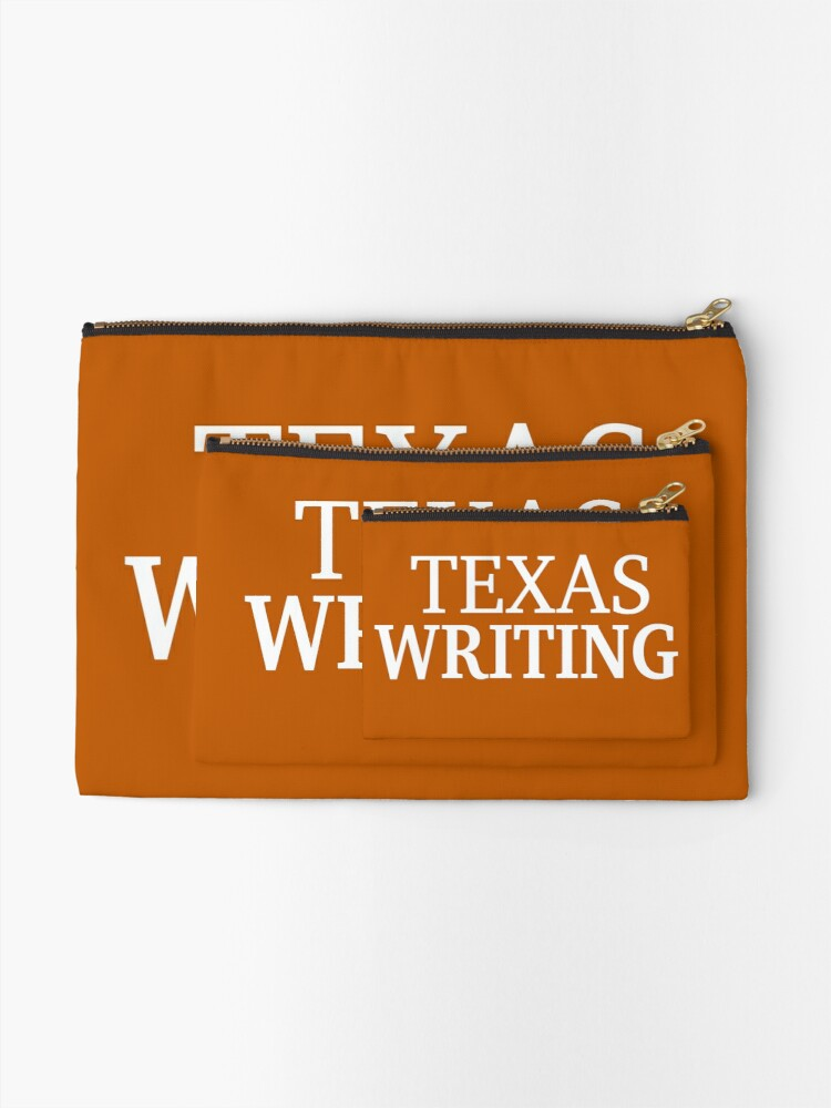 Alternate view of Texas Writing with White Text Zipper Pouch