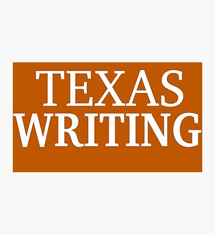 Texas Writing with White Text Photographic Print