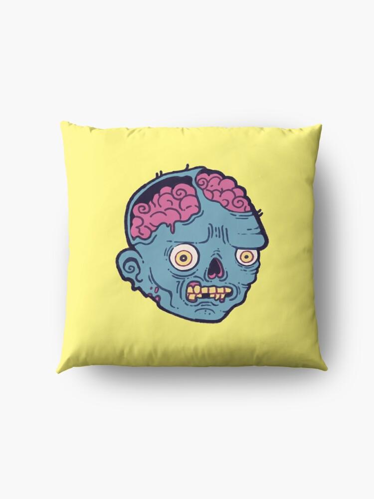 Alternate view of Zombie Brains - I bite Floor Pillow