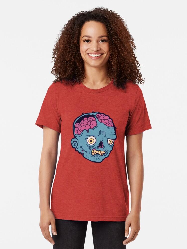 Alternate view of Zombie Brains - I bite Tri-blend T-Shirt