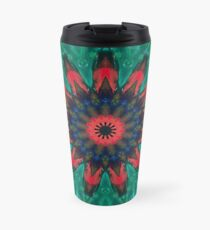 All Together Now Colorful Mandala - In Teal Green Red and Blue - Abstract Art Travel Mug