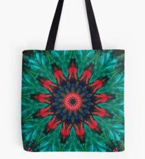 All Together Now Colorful Mandala - In Teal Green Red and Blue - Abstract Art Tote Bag