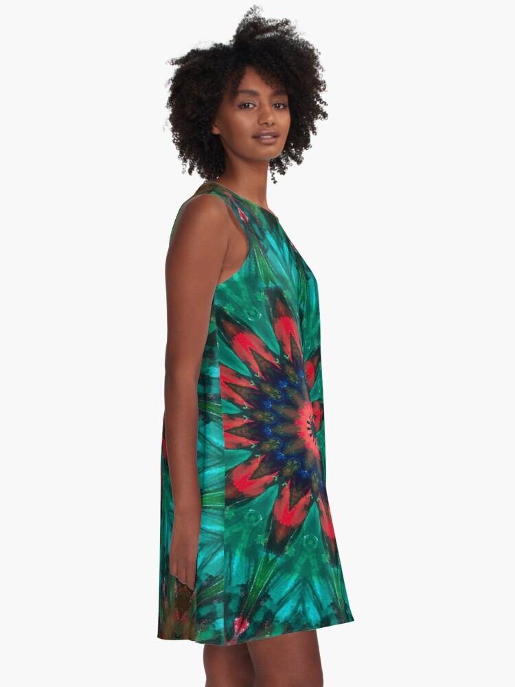 Alternate view of All Together Now Colorful Mandala - In Teal Green Red and Blue - Abstract Art A-Line Dress