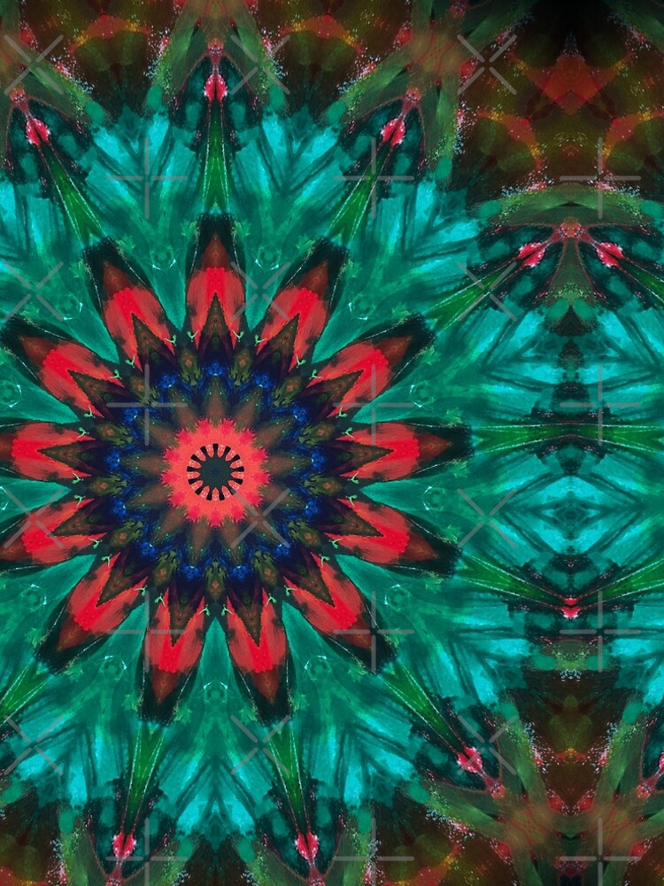 All Together Now Colorful Mandala - In Teal Green Red and Blue - Abstract Art by OneDayArt