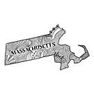 Massachusetts State Doodle von Corey Paige Designs