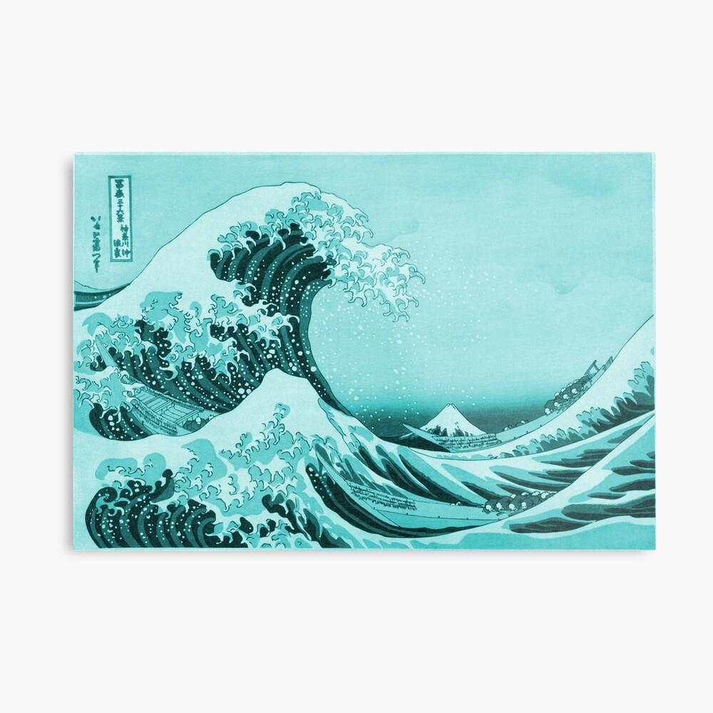 Aqua Blue Tsunami Japanese Great Wave off Kanagawa by Hokusai | Metal Print