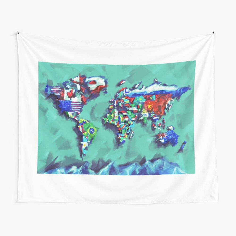 Flaggen der Weltkarte Wandbehang