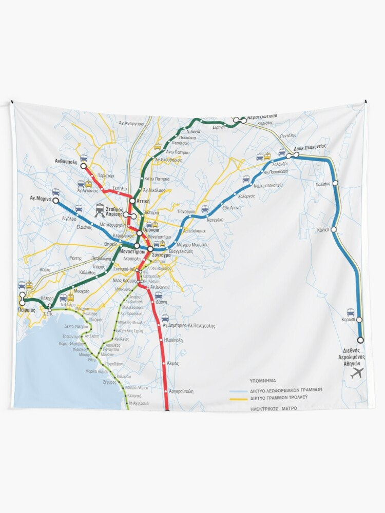 Greece Athens A8hna Transport Map Greek Tapestry By