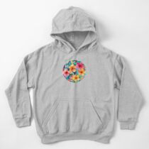 OTT Maximalist Hawaiian Hibiscus Floral with Stripes Kids Pullover Hoodie