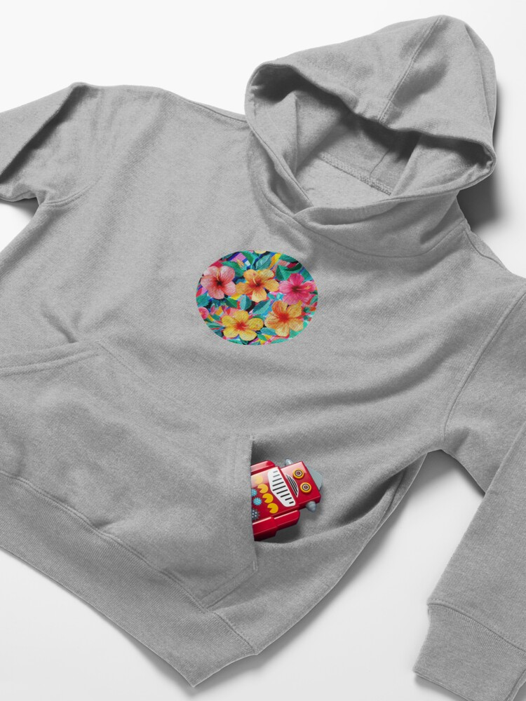 Alternate view of OTT Maximalist Hawaiian Hibiscus Floral with Stripes Kids Pullover Hoodie
