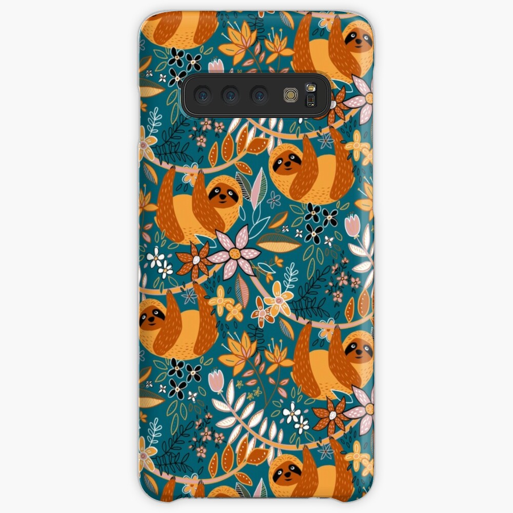 Happy Boho Sloth Floral  Case & Skin for Samsung Galaxy