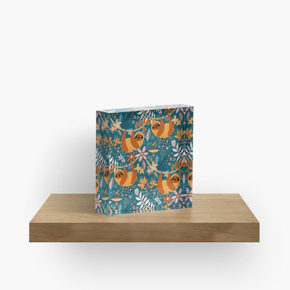 Happy Boho Sloth Floral  Acrylic Block