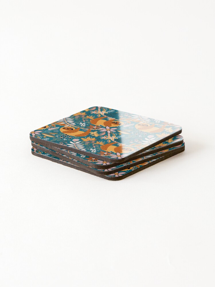 Alternate view of Happy Boho Sloth Floral  Coasters (Set of 4)