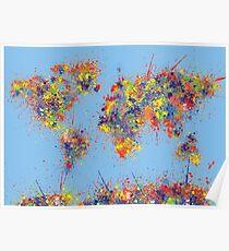 World Map brush strokes Poster
