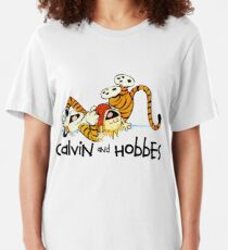 Must Read Book Covers Calvin And Hobbes Laughing Slim Fit T-Shirt