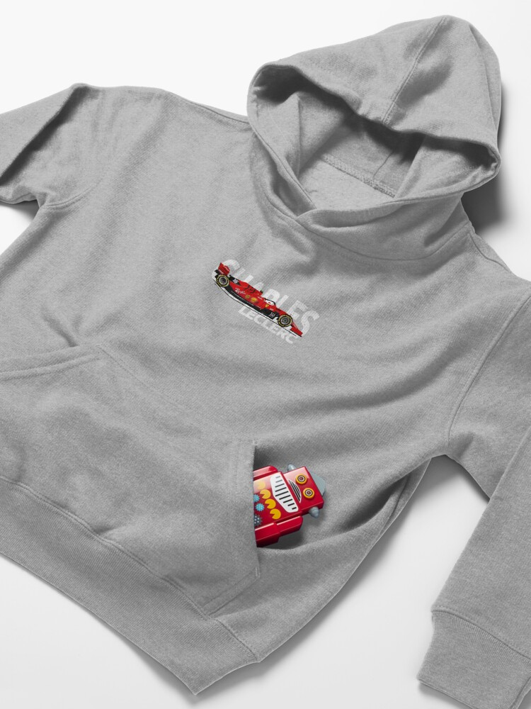 Alternate view of Charles Leclerc 2019 - Ferrari SF90 Large White text Kids Pullover Hoodie