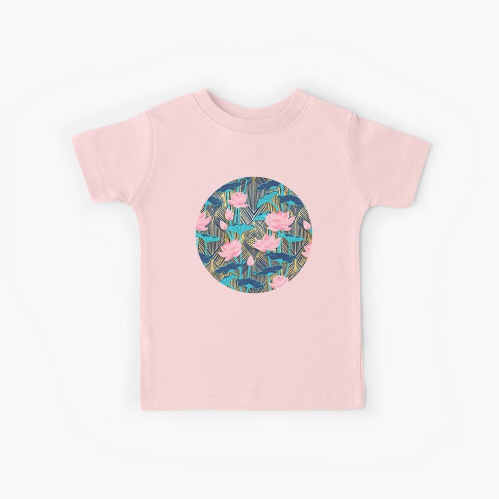 Art Deco Lotus Flowers in Pink & Navy Kids T-Shirt