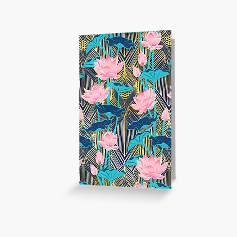 Art Deco Lotus Flowers in Pink & Navy Greeting Card