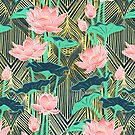 Art Deco Lotus Flowers in Peach & Emerald by micklyn