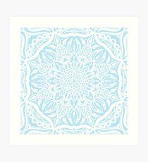 Pastel Blue and White Mandala Art Print