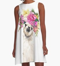 Blumenkronenlama A-Linien Kleid
