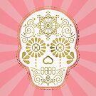Día de Muertos Calavera • Mexikanischer Zuckerschädel - Blau & Rotgold von Cat Coquillette