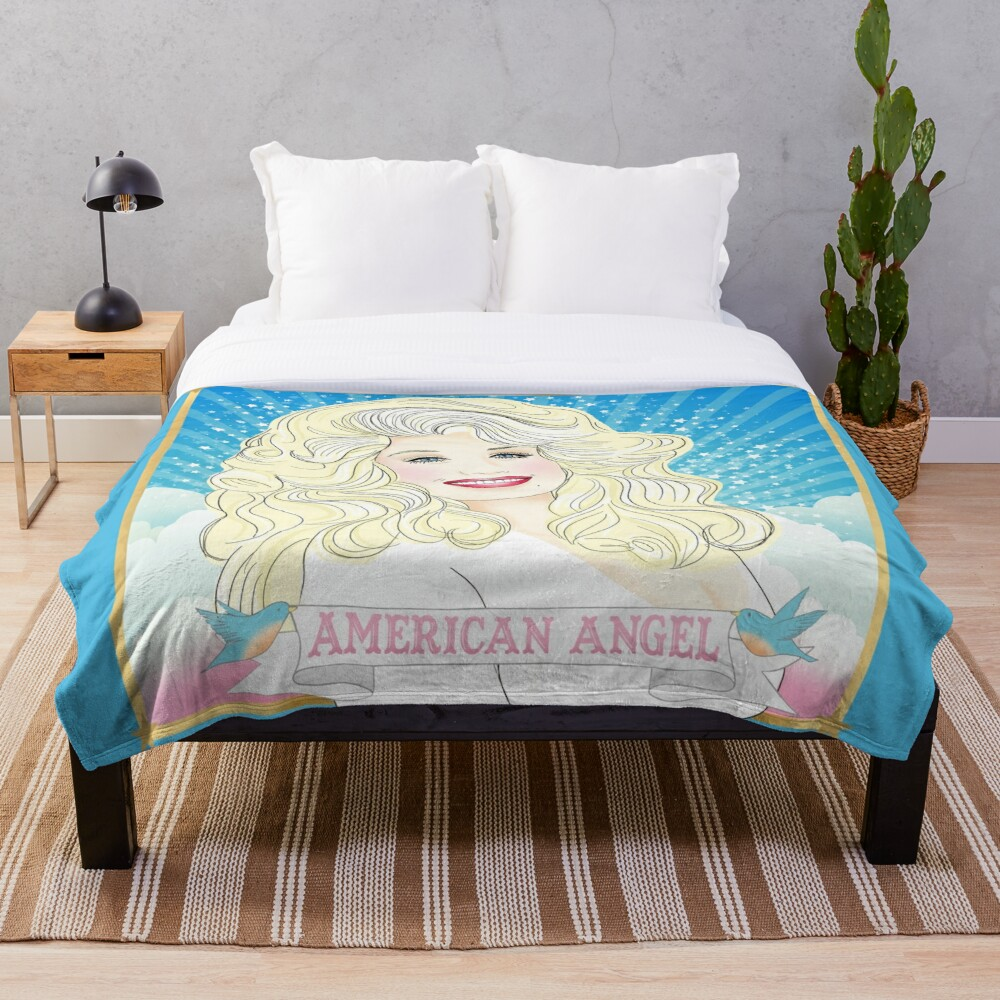Dolly Parton American Angel Throw Blanket