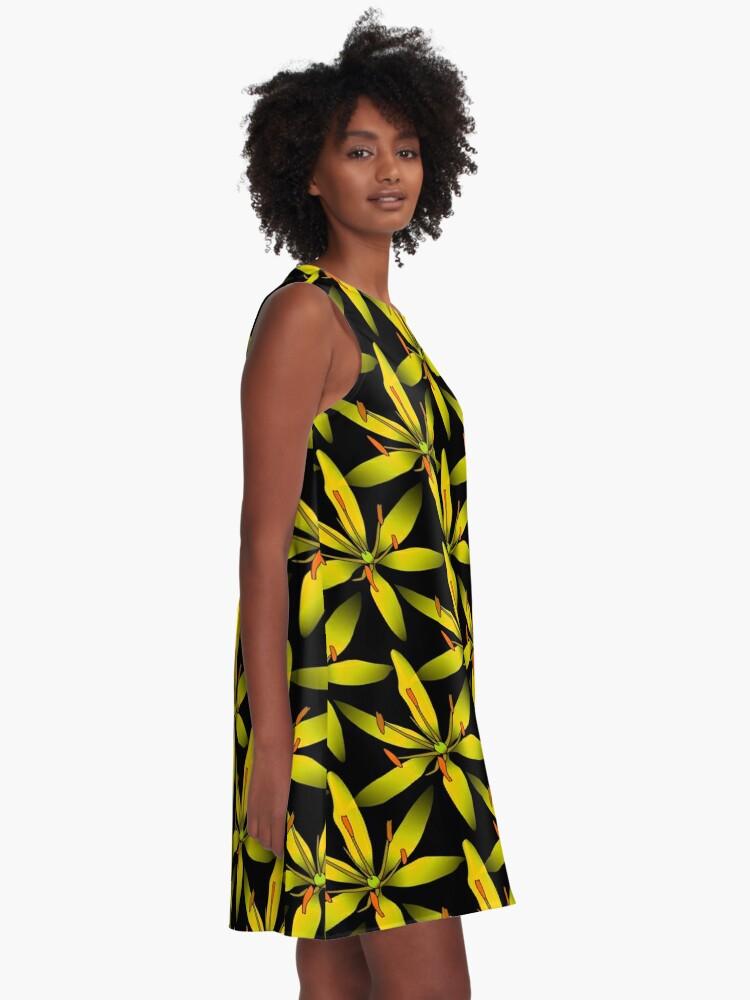 Alternative Ansicht von gelbe Blumen A-Linien Kleid