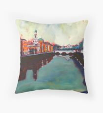 Liffey, Arran Quay and Ushers Quay - Dublin Throw Pillow