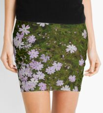 Green and Purple Watercolor Floral Pattern Mini Skirt