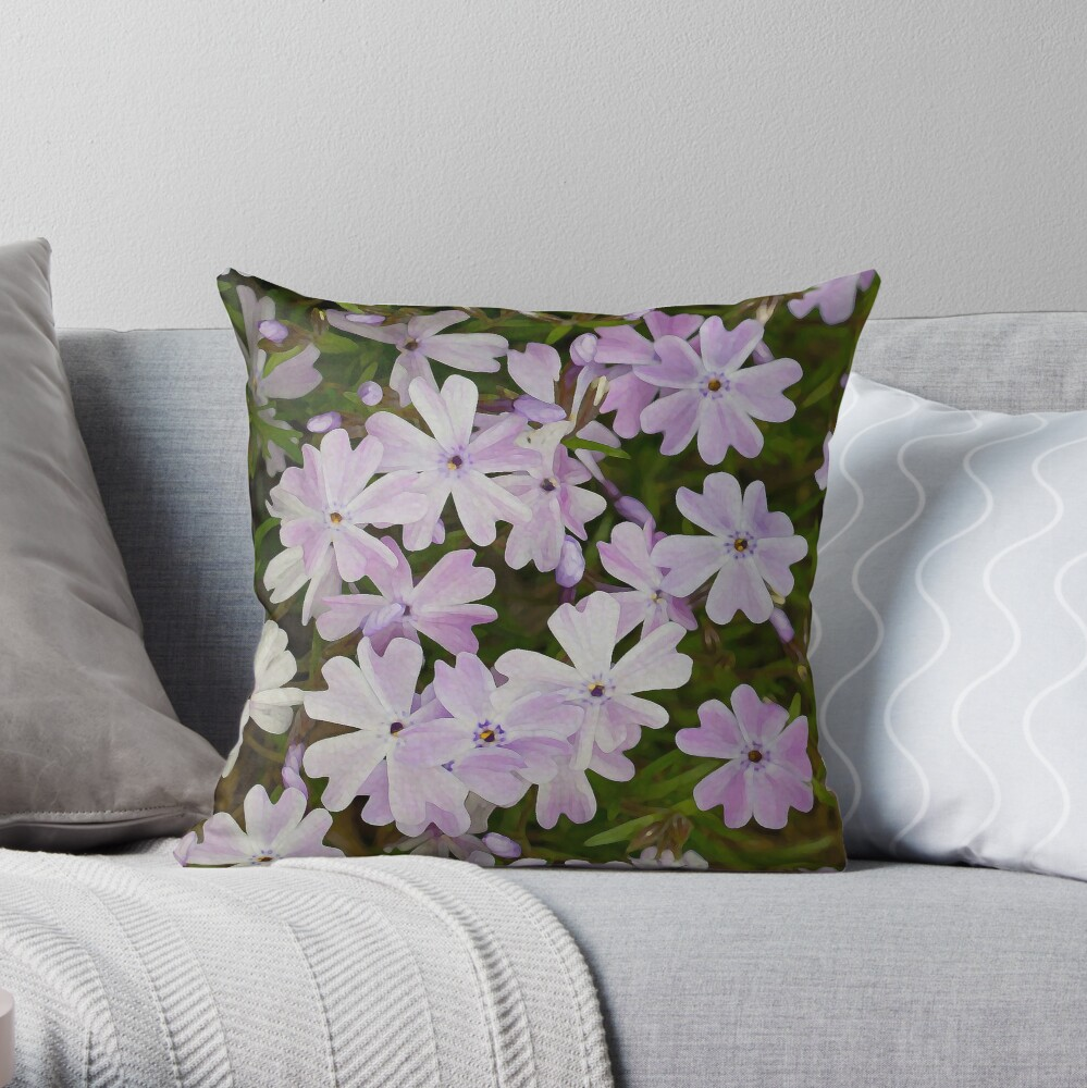 Green and Purple Watercolor Floral Pattern Throw Pillow