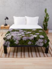 Green and Purple Watercolor Floral Pattern Throw Blanket