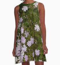 Green and Purple Watercolor Floral Pattern A-Line Dress