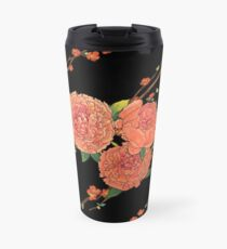peony and plum flower black Travel Mug