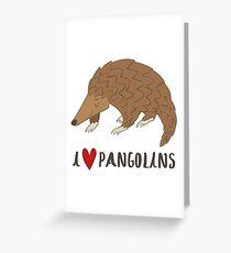 Ich liebe Pangolins Nettes Pangolin Liebes-Herz-Geschenk Grußkarte