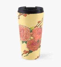 peony and plum flower white Travel Mug