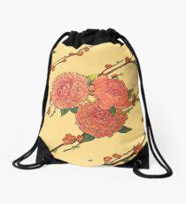 peony and plum flower white Drawstring Bag