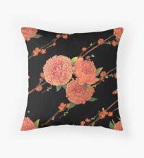 peony and plum flower black Throw Pillow